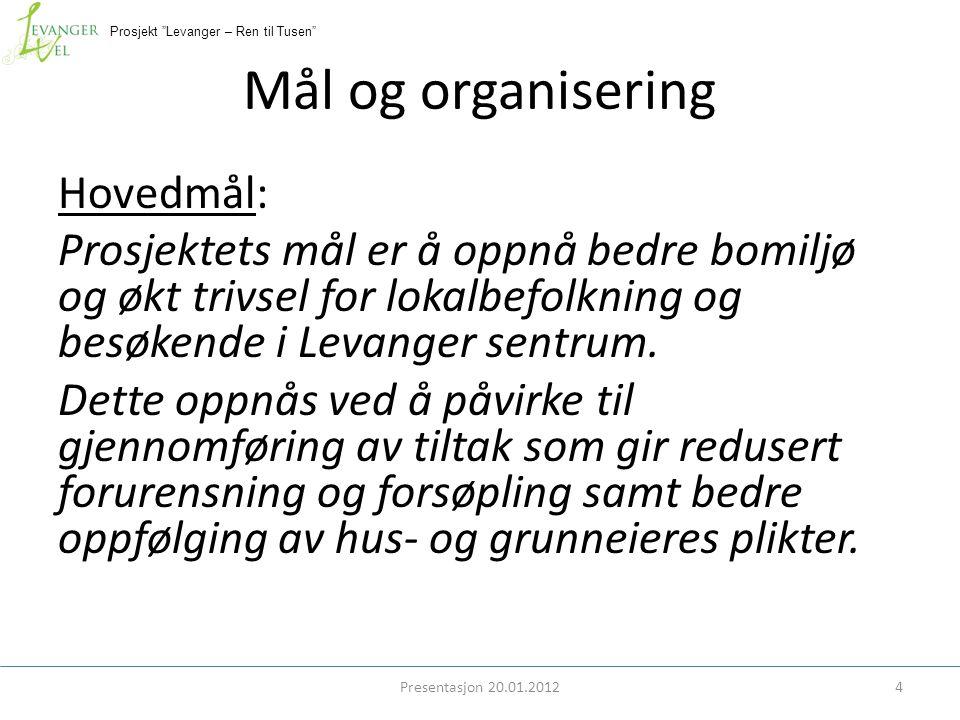 Prosjekt Levanger – Ren til Tusen Mål og organisering Presentasjon 20.01.20124 Hovedmål: Prosjektets mål er å oppnå bedre bomiljø og økt trivsel for lokalbefolkning og besøkende i Levanger sentrum.