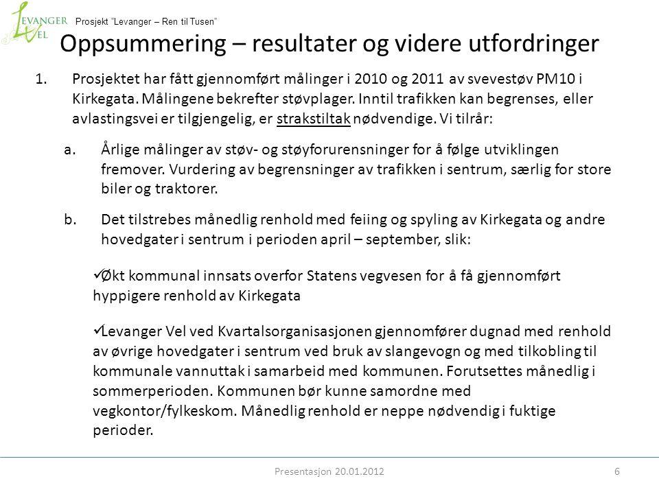 Prosjekt Levanger – Ren til Tusen Oppsummering – resultater og videre utfordringer 1.Prosjektet har fått gjennomført målinger i 2010 og 2011 av svevestøv PM10 i Kirkegata.