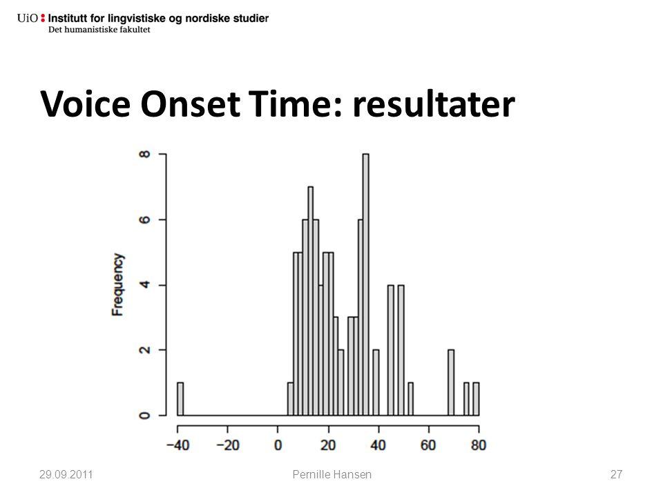 Voice Onset Time: resultater 29.09.2011Pernille Hansen27