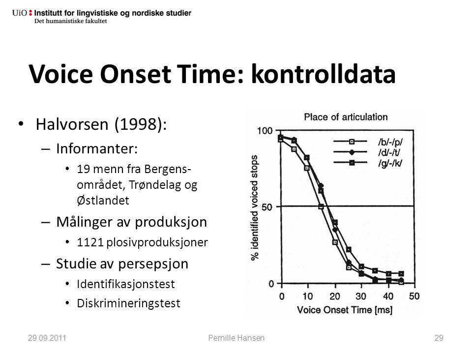 Voice Onset Time: kontrolldata • Halvorsen (1998): – Informanter: • 19 menn fra Bergens- området, Trøndelag og Østlandet – Målinger av produksjon • 11