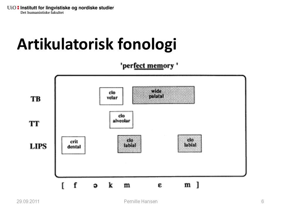 Artikulatorisk fonologi 29.09.2011Pernille Hansen6
