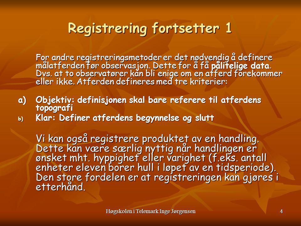Høgskolen i Telemark Inge Jørgensen5 Registrering fortsetter 2 3.FREKVENSRESITRERING/ANTALLSREGISTRERING Hvor ofte forekommer en på forhånd bestemt og beskrevet atferd/handling .