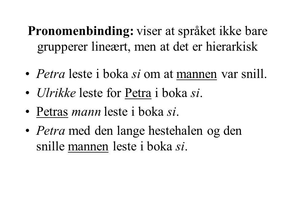 Pronomenbinding: viser at språket ikke bare grupperer lineært, men at det er hierarkisk •Petra leste i boka si om at mannen var snill.