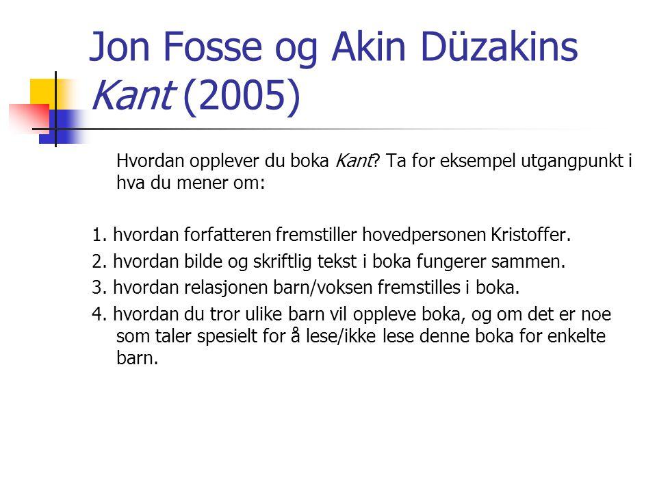 Jon Fosse og Akin Düzakins Kant (2005) Hvordan opplever du boka Kant? Ta for eksempel utgangpunkt i hva du mener om: 1. hvordan forfatteren fremstille