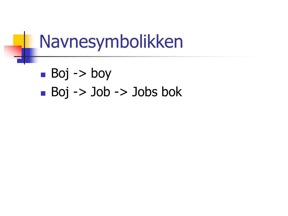 Navnesymbolikken  Boj -> boy  Boj -> Job -> Jobs bok