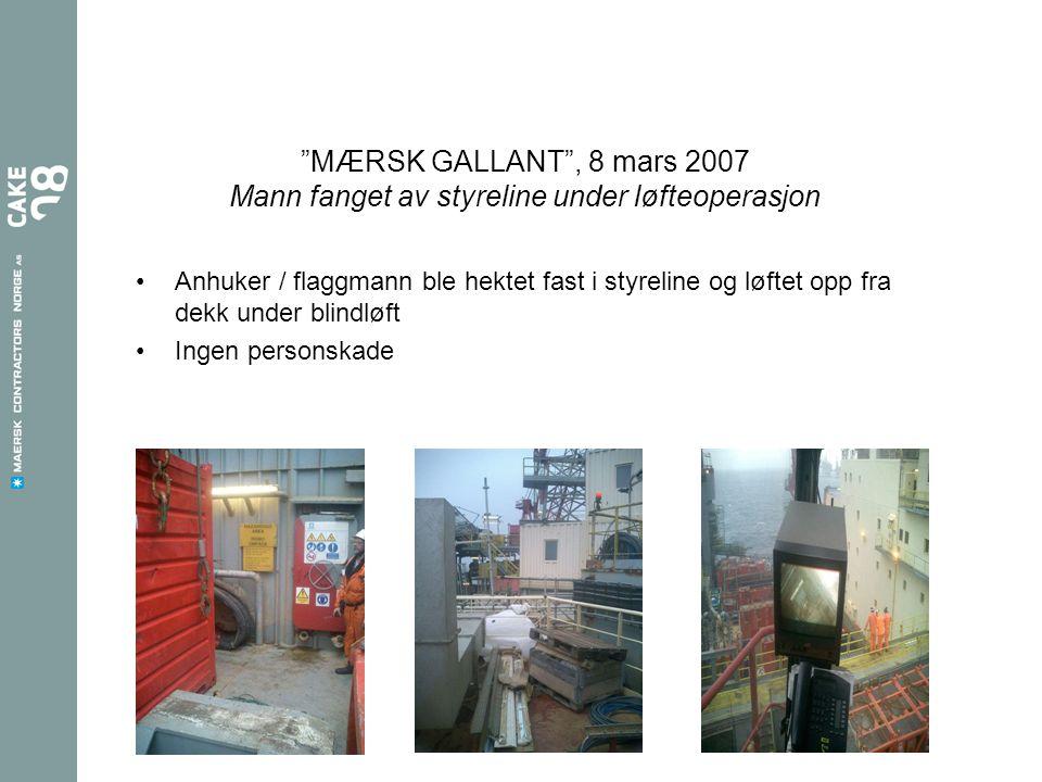 MÆRSK GALLANT , 8 mars 2007 Mann fanget av styreline under løfteoperasjon •Anhuker / flaggmann ble hektet fast i styreline og løftet opp fra dekk under blindløft •Ingen personskade