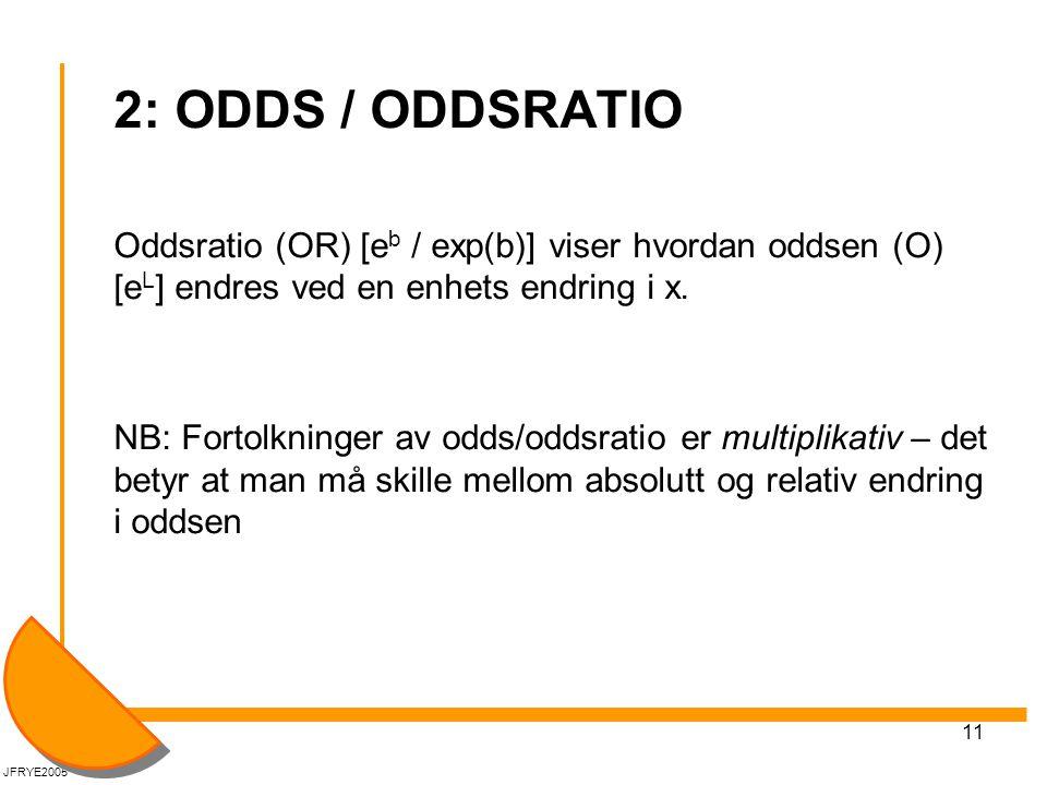 11 2: ODDS / ODDSRATIO Oddsratio (OR) [e b / exp(b)] viser hvordan oddsen (O) [e L ] endres ved en enhets endring i x.