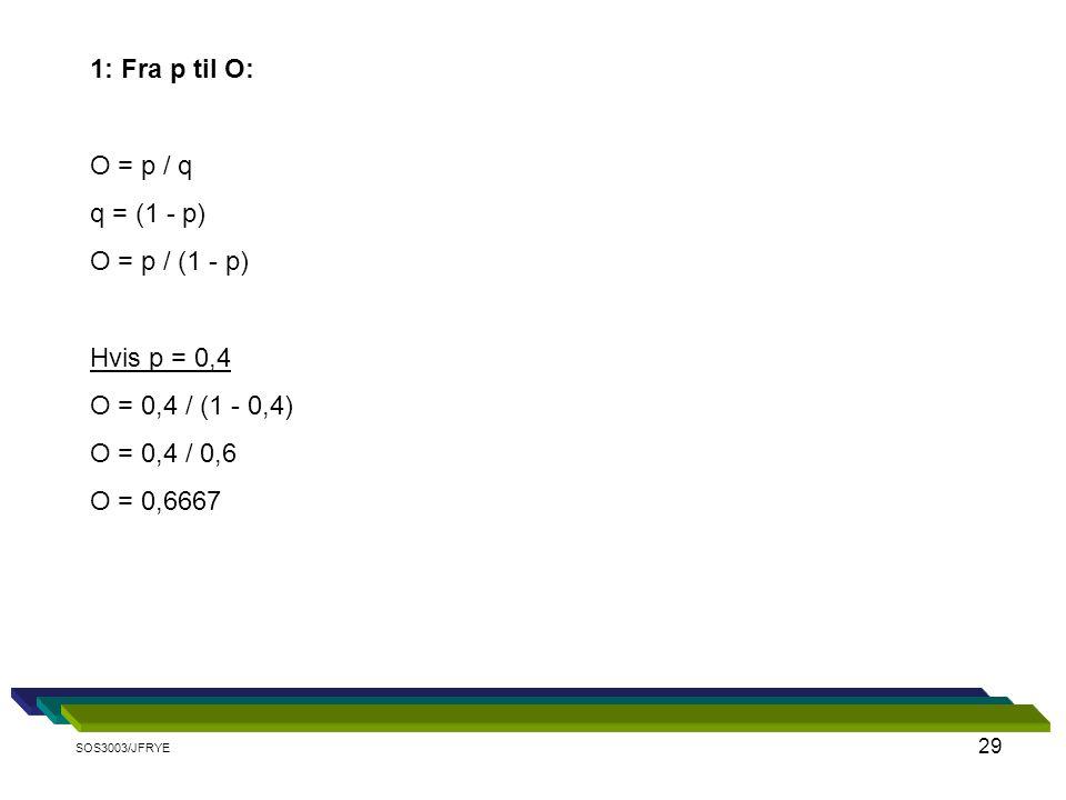 29 1: Fra p til O: O = p / q q = (1 - p) O = p / (1 - p) Hvis p = 0,4 O = 0,4 / (1 - 0,4) O = 0,4 / 0,6 O = 0,6667 SOS3003/JFRYE