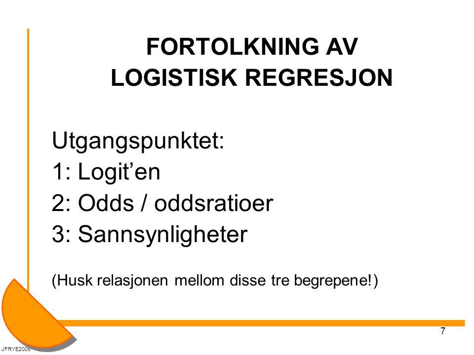 7 FORTOLKNING AV LOGISTISK REGRESJON Utgangspunktet: 1: Logit'en 2: Odds / oddsratioer 3: Sannsynligheter (Husk relasjonen mellom disse tre begrepene!) JFRYE2005