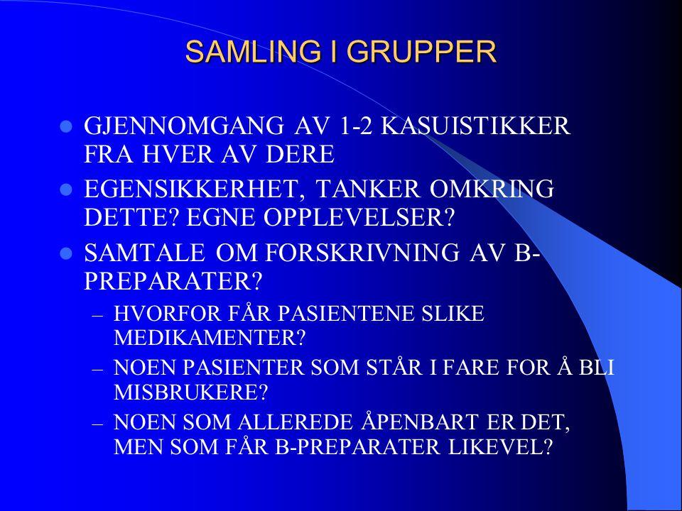 SAMLING I GRUPPER  GJENNOMGANG AV 1-2 KASUISTIKKER FRA HVER AV DERE  EGENSIKKERHET, TANKER OMKRING DETTE? EGNE OPPLEVELSER?  SAMTALE OM FORSKRIVNIN