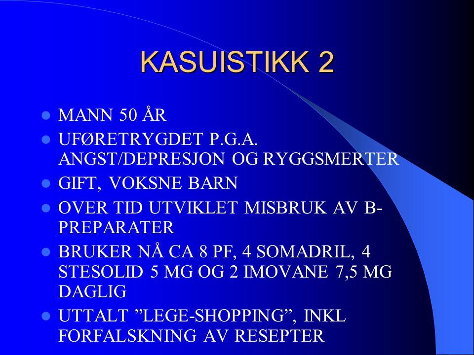 KASUISTIKK 2  MANN 50 ÅR  UFØRETRYGDET P.G.A. ANGST/DEPRESJON OG RYGGSMERTER  GIFT, VOKSNE BARN  OVER TID UTVIKLET MISBRUK AV B- PREPARATER  BRUK