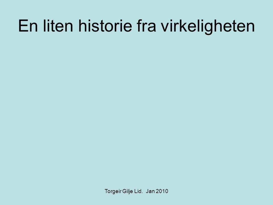 En liten historie fra virkeligheten Torgeir Gilje Lid. Jan 2010