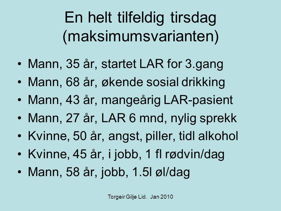 En helt tilfeldig tirsdag (maksimumsvarianten) •Mann, 35 år, startet LAR for 3.gang •Mann, 68 år, økende sosial drikking •Mann, 43 år, mangeårig LAR-pasient •Mann, 27 år, LAR 6 mnd, nylig sprekk •Kvinne, 50 år, angst, piller, tidl alkohol •Kvinne, 45 år, i jobb, 1 fl rødvin/dag •Mann, 58 år, jobb, 1.5l øl/dag Torgeir Gilje Lid.