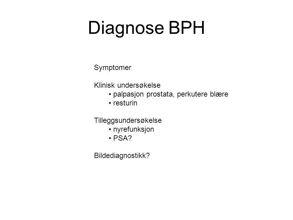 Diagnose BPH Symptomer Klinisk undersøkelse • palpasjon prostata, perkutere blære • resturin Tilleggsundersøkelse • nyrefunksjon • PSA? Bildediagnosti