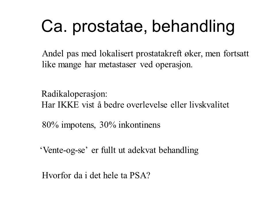 Ca. prostatae, behandling Andel pas med lokalisert prostatakreft øker, men fortsatt like mange har metastaser ved operasjon. 'Vente-og-se' er fullt ut