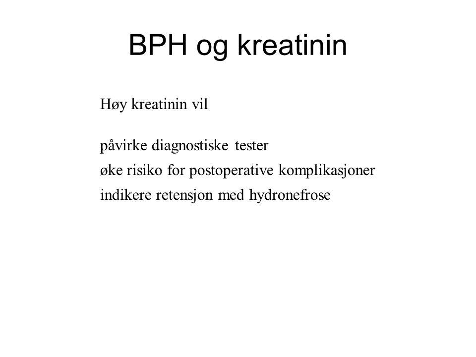 BPH og kreatinin Høy kreatinin vil påvirke diagnostiske tester øke risiko for postoperative komplikasjoner indikere retensjon med hydronefrose