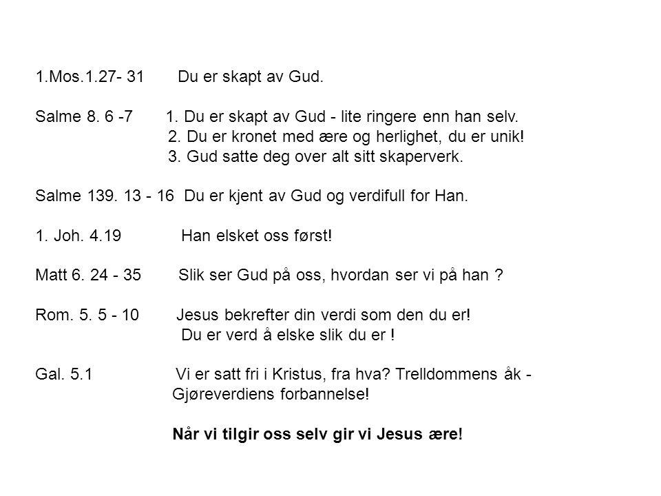 1.Mos.1.27- 31 Du er skapt av Gud. Salme 8. 6 -7 1. Du er skapt av Gud - lite ringere enn han selv. 2. Du er kronet med ære og herlighet, du er unik!