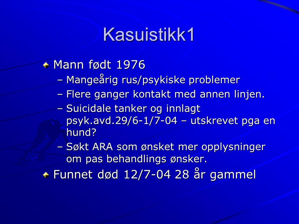 Kasuistikk1 Mann født 1976 –Mangeårig rus/psykiske problemer –Flere ganger kontakt med annen linjen. –Suicidale tanker og innlagt psyk.avd.29/6-1/7-04
