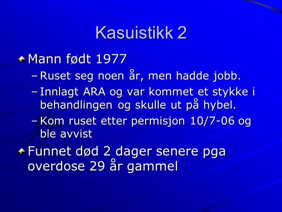 Kasuistikk 2 Mann født 1977 –Ruset seg noen år, men hadde jobb. –Innlagt ARA og var kommet et stykke i behandlingen og skulle ut på hybel. –Kom ruset