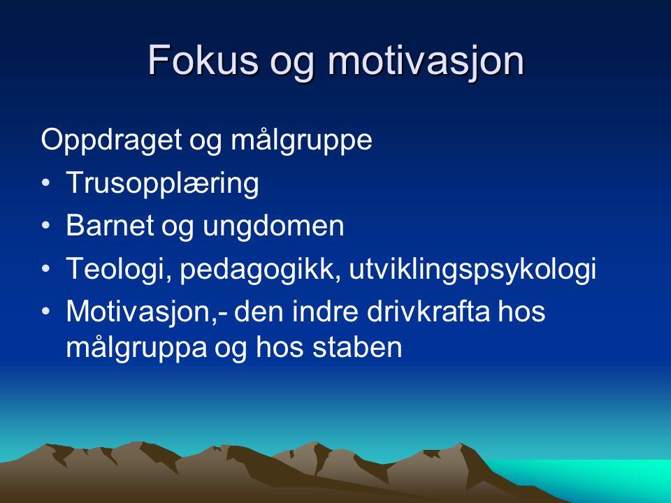 Fokus og motivasjon Oppdraget og målgruppe •Trusopplæring •Barnet og ungdomen •Teologi, pedagogikk, utviklingspsykologi •Motivasjon,- den indre drivkrafta hos målgruppa og hos staben