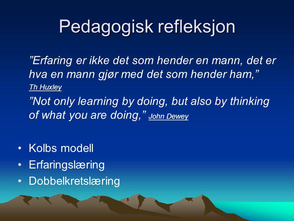 Pedagogisk refleksjon Erfaring er ikke det som hender en mann, det er hva en mann gjør med det som hender ham, Th Huxley Not only learning by doing, but also by thinking of what you are doing, John Dewey •Kolbs modell •Erfaringslæring •Dobbelkretslæring
