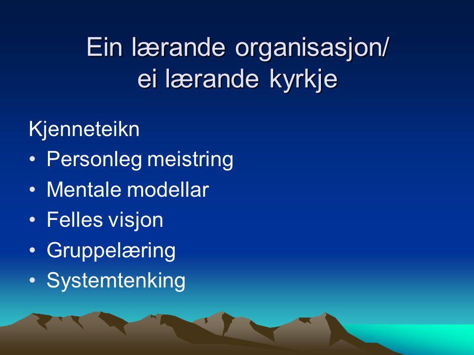 Ein lærande organisasjon/ ei lærande kyrkje Kjenneteikn •Personleg meistring •Mentale modellar •Felles visjon •Gruppelæring •Systemtenking