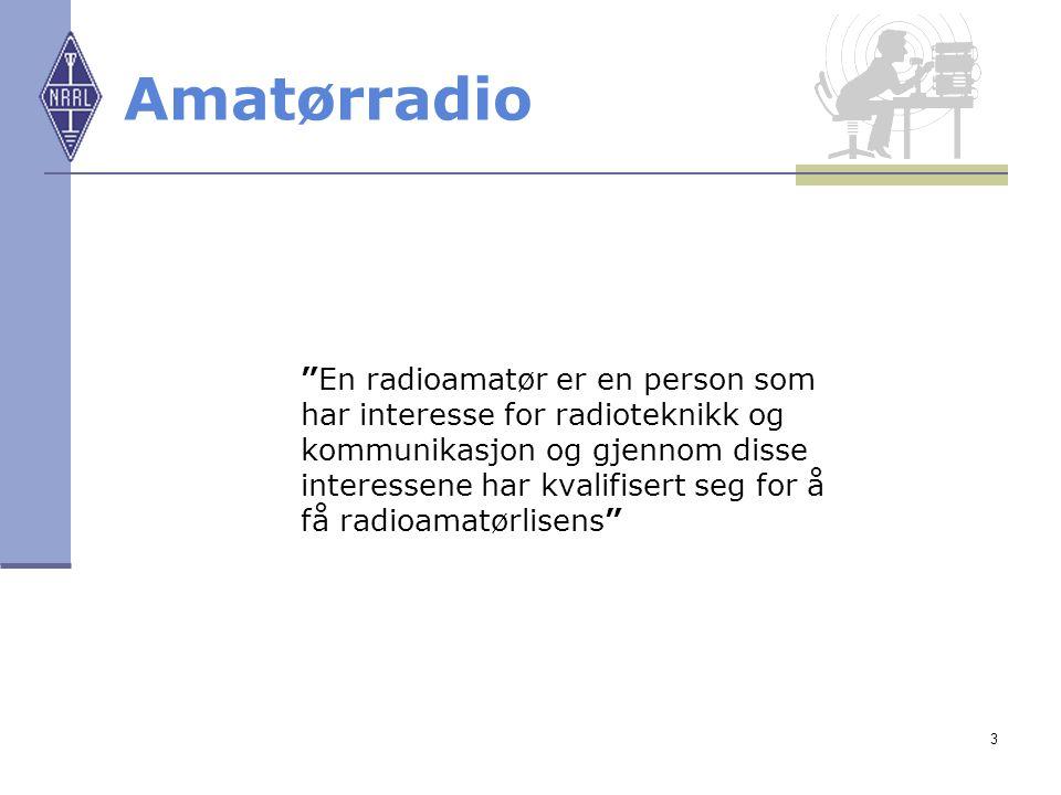"""3 Amatørradio """"En radioamatør er en person som har interesse for radioteknikk og kommunikasjon og gjennom disse interessene har kvalifisert seg for å"""