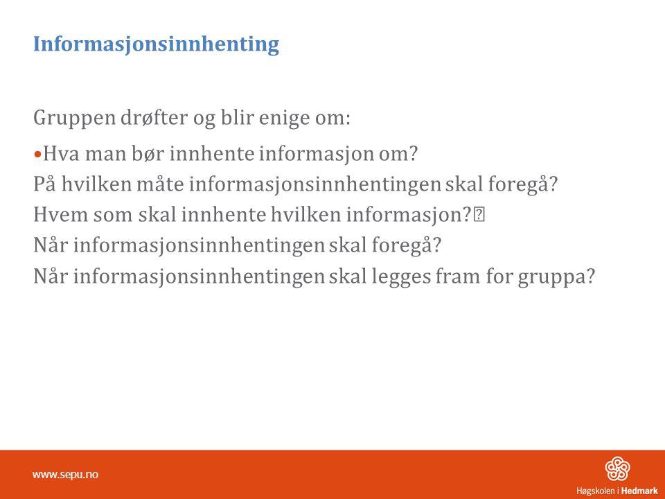 Informasjonsinnhenting Gruppen drøfter og blir enige om: •Hva man bør innhente informasjon om.