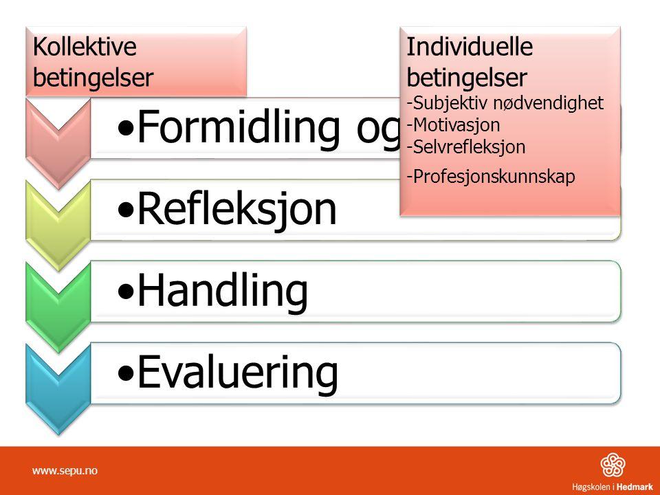 www.sepu.no Kollektive betingelser Individuelle betingelser -Subjektiv nødvendighet -Motivasjon -Selvrefleksjon -Profesjonskunnskap Individuelle betingelser -Subjektiv nødvendighet -Motivasjon -Selvrefleksjon -Profesjonskunnskap