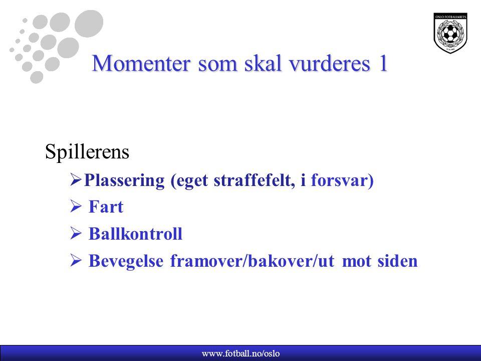 www.fotball.no/oslo Momenter som skal vurderes 2 Medspillernes  Plassering  Fart  Gjennombrudd/kontring