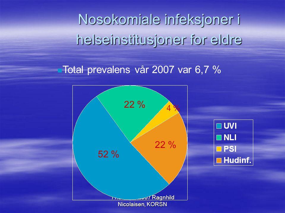 11.oktober 2007 Ragnhild Nicolaisen, KORSN Prevalens/ insidens  Prevalens: –Forekomst av infeksjoner på et gitt tidspunkt.