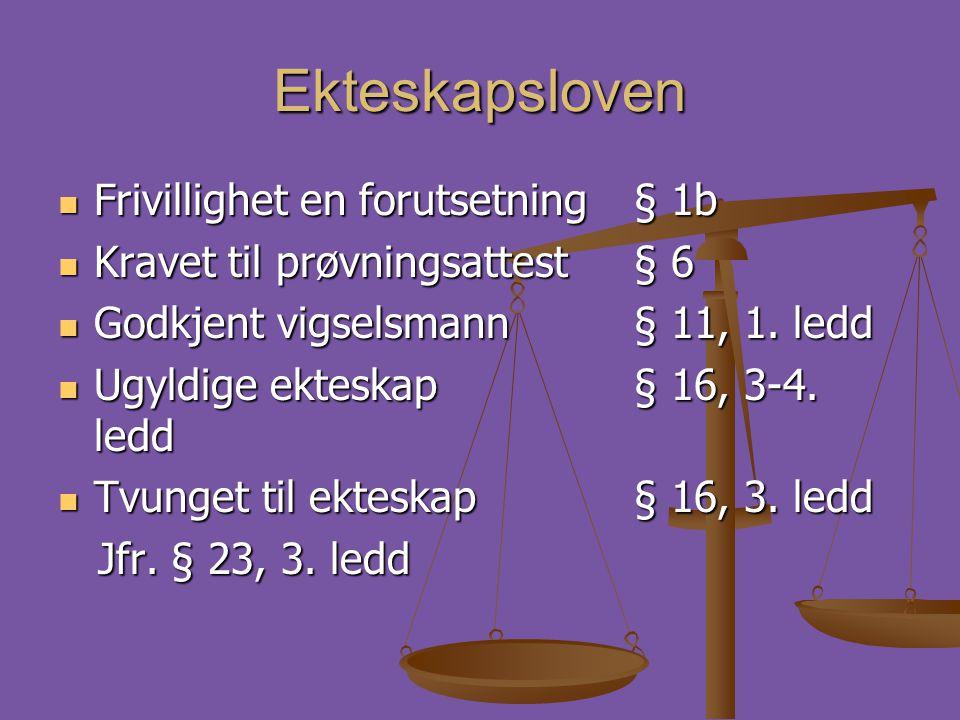Ekteskapsloven  Frivillighet en forutsetning § 1b  Kravet til prøvningsattest § 6  Godkjent vigselsmann § 11, 1. ledd  Ugyldige ekteskap § 16, 3-4