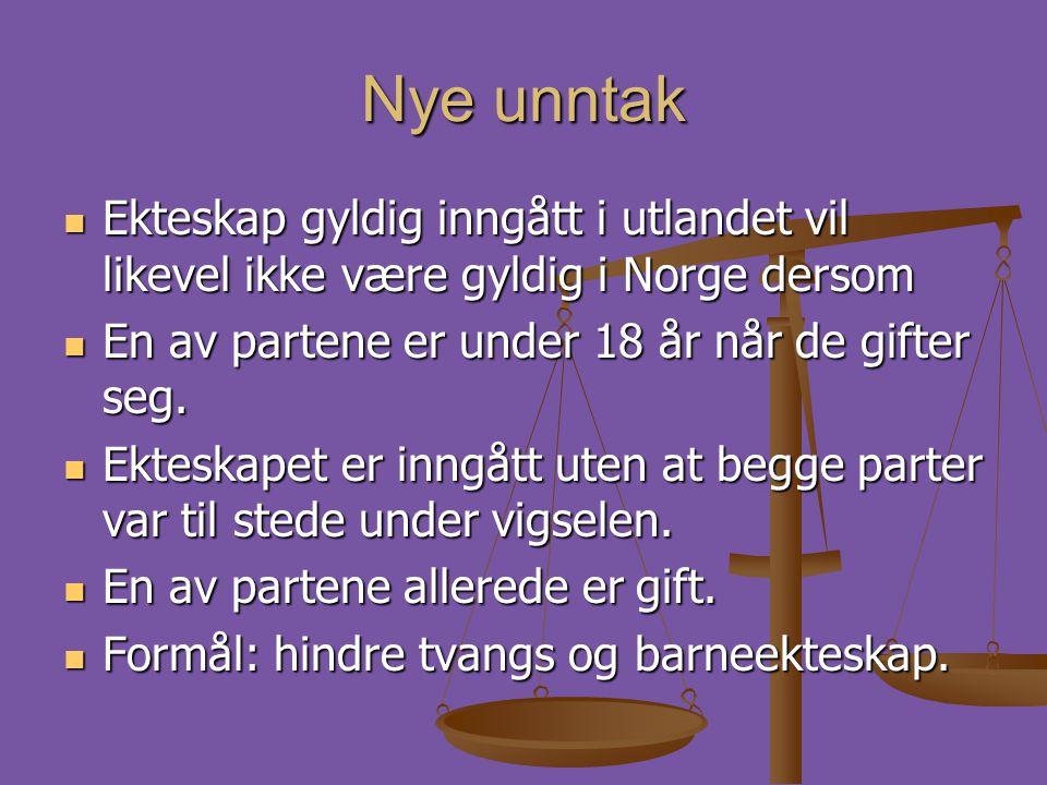 Nye unntak  Ekteskap gyldig inngått i utlandet vil likevel ikke være gyldig i Norge dersom  En av partene er under 18 år når de gifter seg.  Ektesk