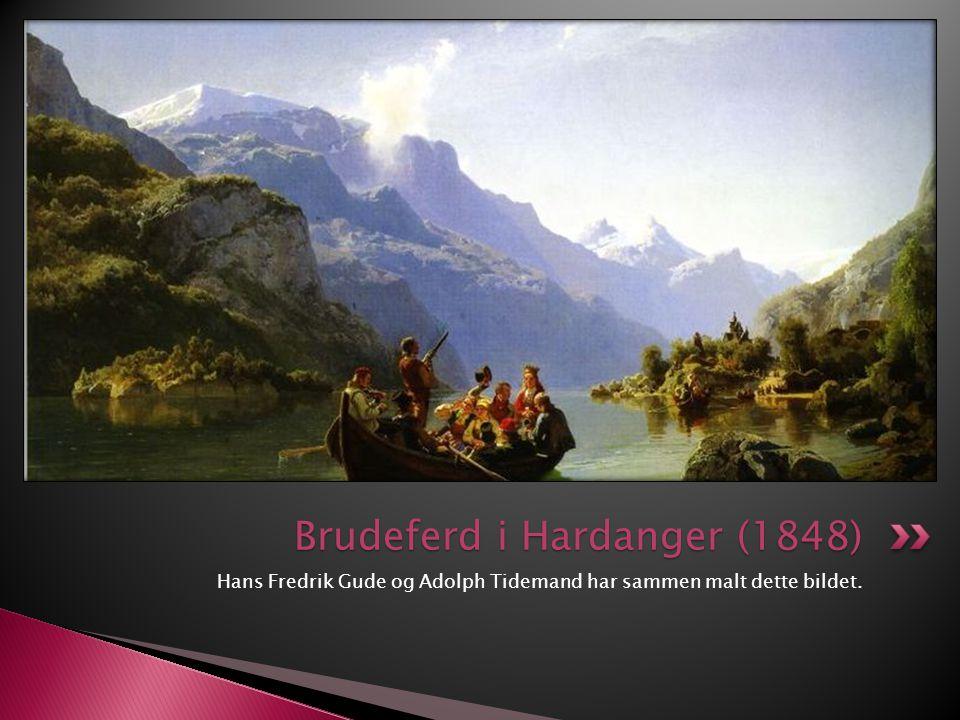 Hans Fredrik Gude og Adolph Tidemand har sammen malt dette bildet. Brudeferd i Hardanger (1848)