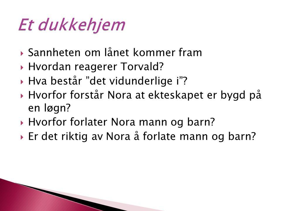 """ Sannheten om lånet kommer fram  Hvordan reagerer Torvald?  Hva består """"det vidunderlige i""""?  Hvorfor forstår Nora at ekteskapet er bygd på en løg"""