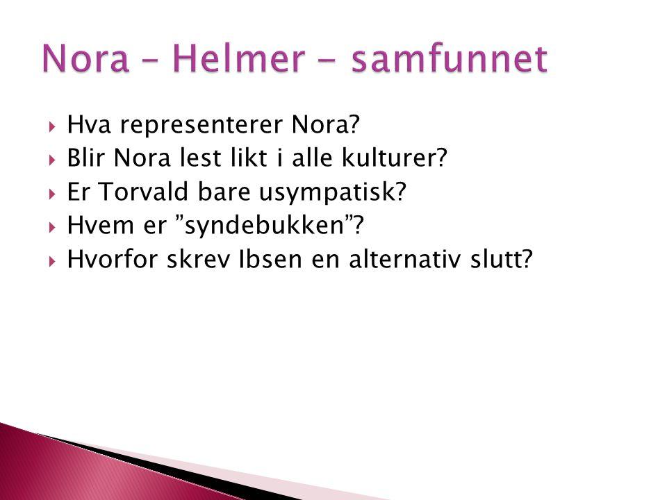 """ Hva representerer Nora?  Blir Nora lest likt i alle kulturer?  Er Torvald bare usympatisk?  Hvem er """"syndebukken""""?  Hvorfor skrev Ibsen en alter"""