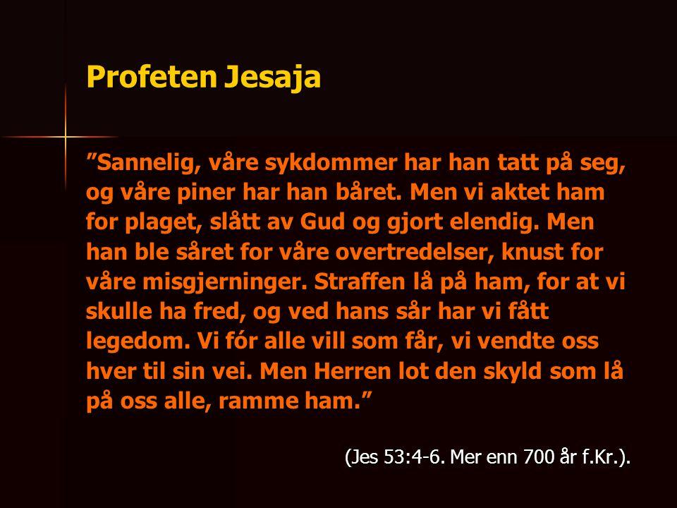 """Profeten Jesaja """"Sannelig, våre sykdommer har han tatt på seg, og våre piner har han båret. Men vi aktet ham for plaget, slått av Gud og gjort elendig"""