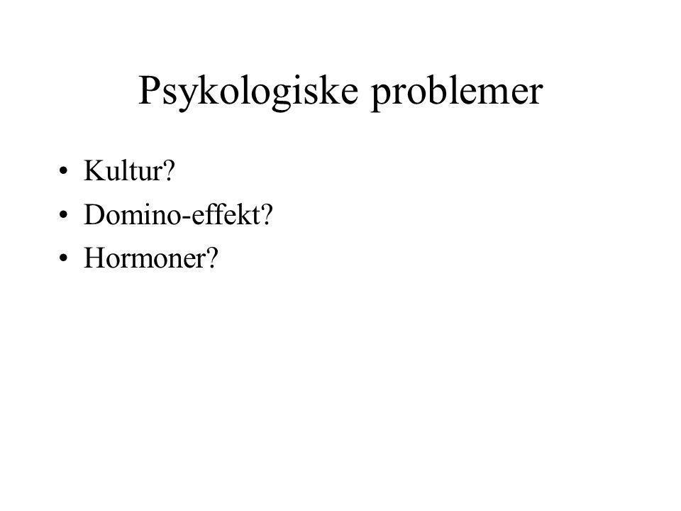 Psykologiske problemer •Kultur? •Domino-effekt? •Hormoner?