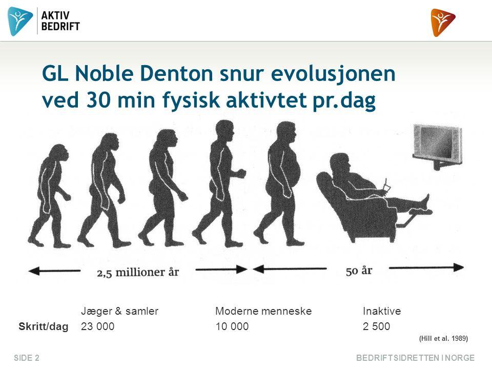 BEDRIFTSIDRETTEN I NORGESIDE 2 GL Noble Denton snur evolusjonen ved 30 min fysisk aktivtet pr.dag Jæger & samlerModerne menneskeInaktive Skritt/dag23