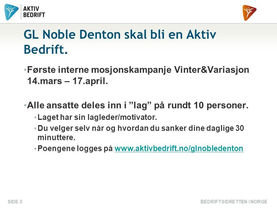 """GL Noble Denton skal bli en Aktiv Bedrift. • Første interne mosjonskampanje Vinter&Variasjon 14.mars – 17.april. • Alle ansatte deles inn i """"lag"""" på r"""