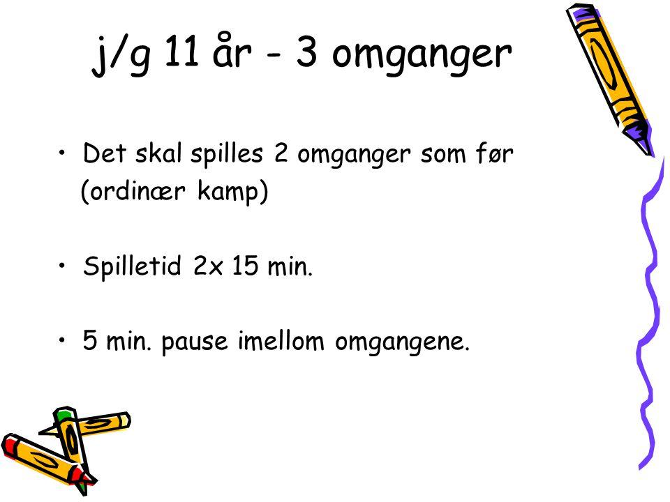 j/g 11 år - 3 omganger •Det skal spilles 2 omganger som før (ordinær kamp) •Spilletid 2x 15 min.