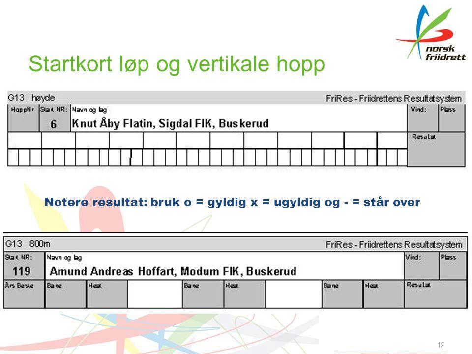 Startkort løp og vertikale hopp 12 Notere resultat: bruk o = gyldig x = ugyldig og - = står over