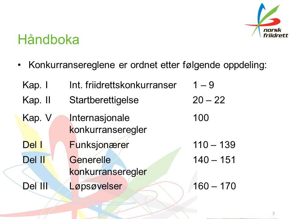 Håndboka •Konkurransereglene er ordnet etter følgende oppdeling: 5 Kap. IInt. friidrettskonkurranser1 – 9 Kap. IIStartberettigelse20 – 22 Kap. VIntern