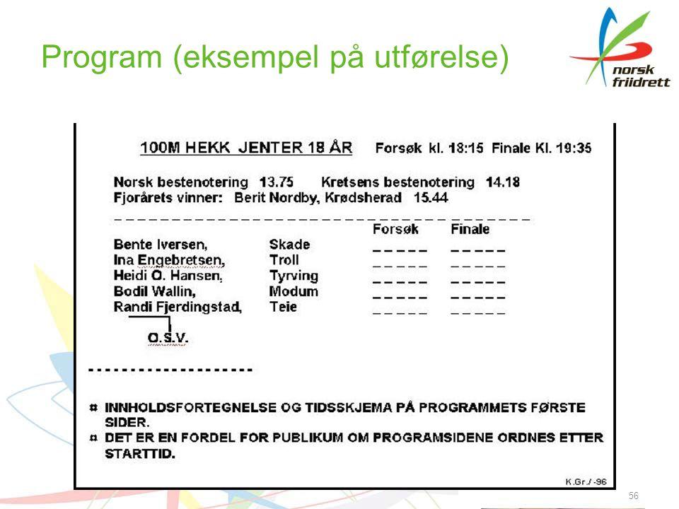 Program (eksempel på utførelse) 56