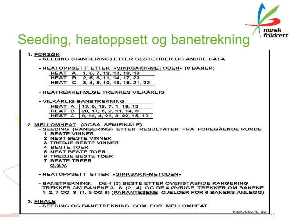 Seeding, heatoppsett og banetrekning 57