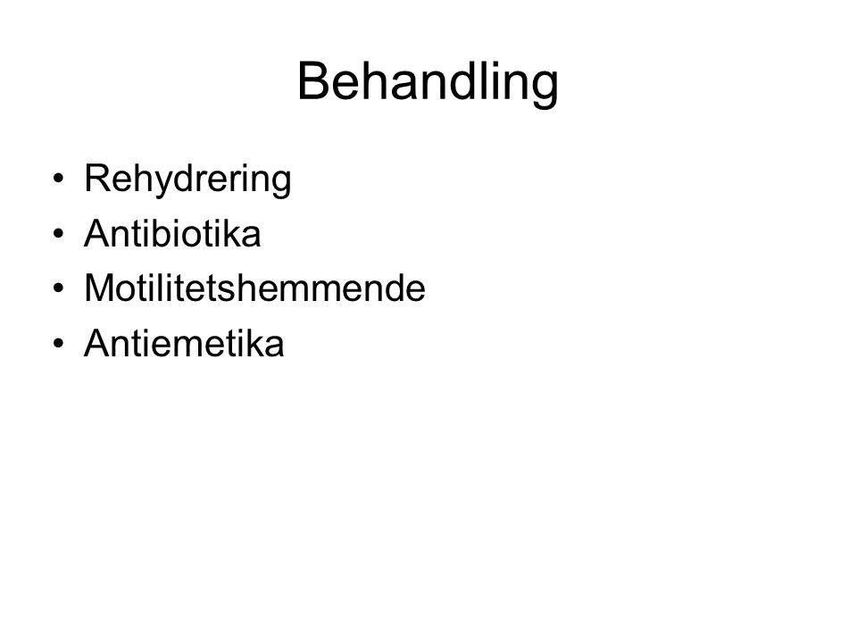 Behandling •Rehydrering •Antibiotika •Motilitetshemmende •Antiemetika