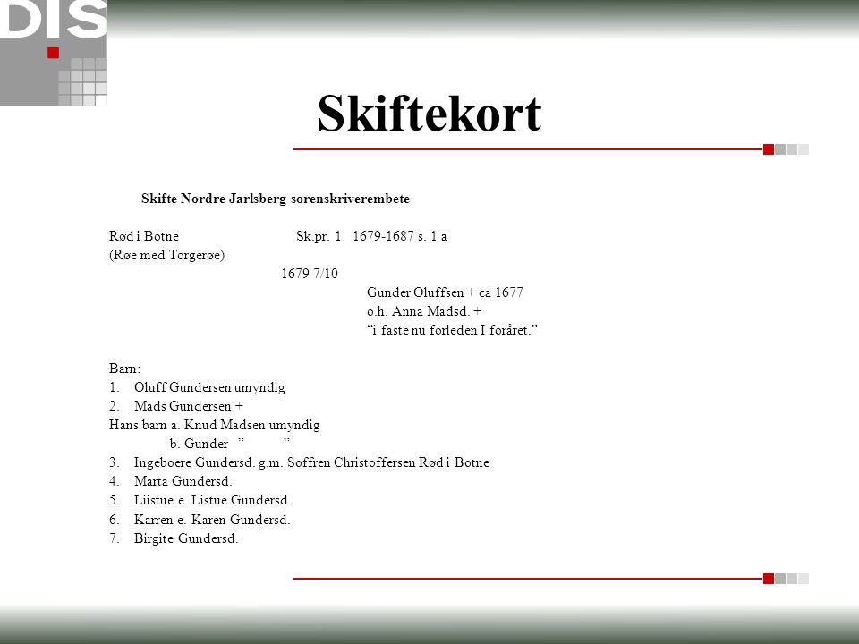 Skiftekort Skifte Nordre Jarlsberg sorenskriverembete Rød i Botne Sk.pr. 1 1679-1687 s. 1 a (Røe med Torgerøe) 1679 7/10 Gunder Oluffsen + ca 1677 o.h