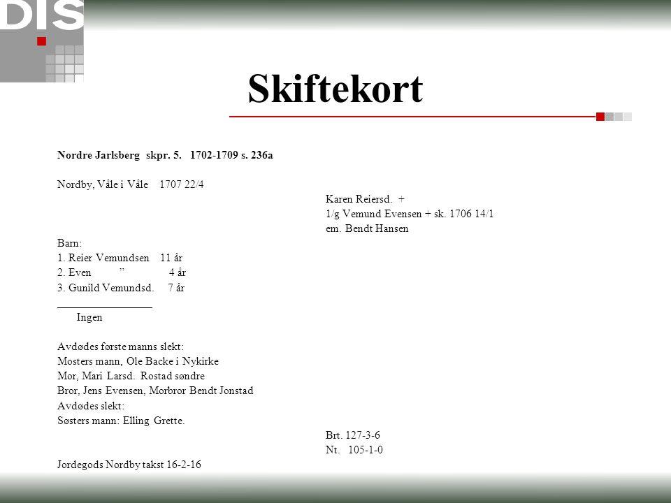 Skiftekort Nordre Jarlsberg skpr. 5. 1702-1709 s. 236a Nordby, Våle i Våle 1707 22/4 Karen Reiersd. + 1/g Vemund Evensen + sk. 1706 14/1 em. Bendt Han
