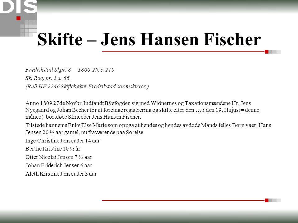Skifte – Jens Hansen Fischer Fredrikstad Skpr. 8 1800-29, s. 210. Sk. Reg. pr. 3 s. 66. (Rull HF 2246 Skiftebøker Fredrikstad sorenskirver.) Anno 1809