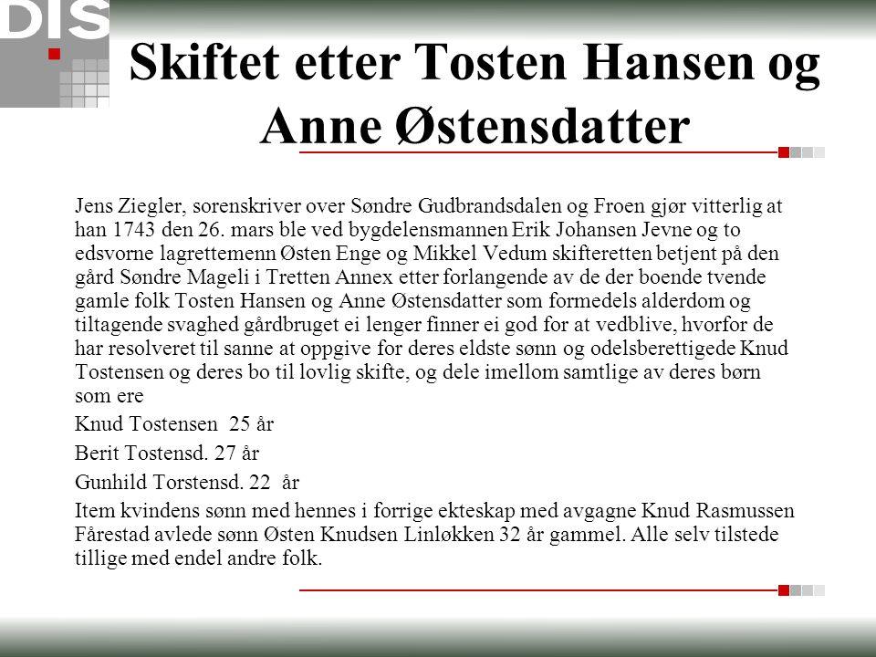 Skiftet etter Tosten Hansen og Anne Østensdatter Jens Ziegler, sorenskriver over Søndre Gudbrandsdalen og Froen gjør vitterlig at han 1743 den 26. mar
